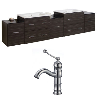American Imaginations Xena Rectangle Wall Mount Single Hole Center Faucet Vanity Set