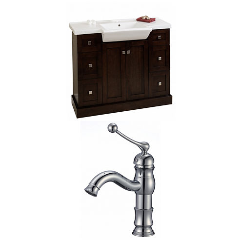 American Imaginations Prelude Rectangle Floor Mount Single Hole Center Faucet Vanity Set