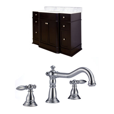American Imaginations Granicus Rectangle Floor Mount 8-in. o.c. Center Faucet Vanity Set