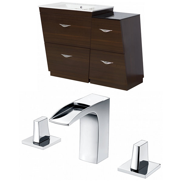 American Imaginations Vee V-Shape Floor Mount 8-in. o.c. Center Faucet Vanity Set