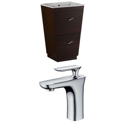 American Imaginations Vee V-Shape Floor Mount Single Hole Center Faucet Vanity Set