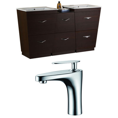 American Imaginations Vee V-Shape Floor Mount Single Hole Center Faucet Vanity Set