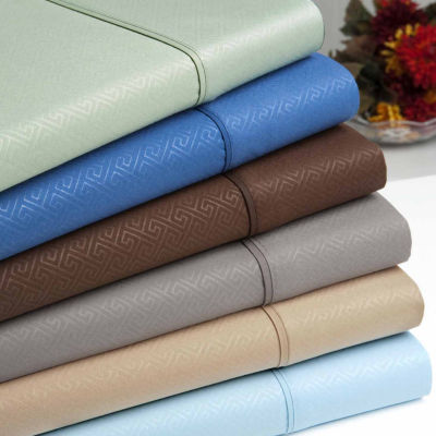 Signature Collection Embossed Greek Key Double Brushed Microfiber Sheets 6 Piece Set