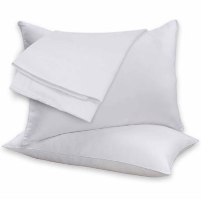 2 Pack Beauty Sleep 100% Cotton Shell Feather & Goose Down Filled Pillows