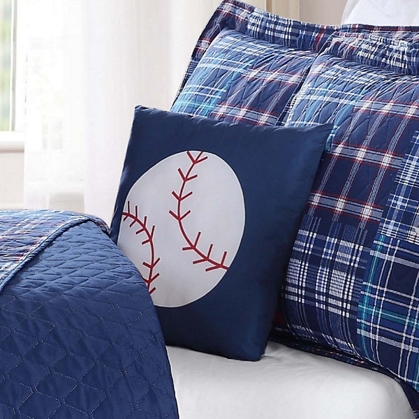 Laura Hart Kids Navy Plaid Patch Quilt Set With Decorative Pillow