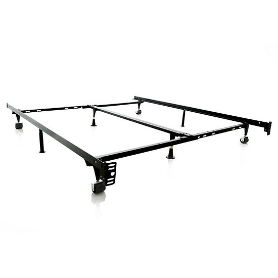 Malouf Structures Low Profile Heavy Duty Adjustable Bed Frame with Rollers