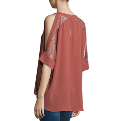 T.D.C Elbowt Sleeve Lace Inset Cold Shoulder Top