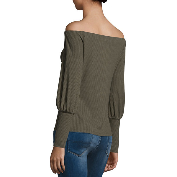T.D.C Off The Shoulder Puff Sleeve Rib Top