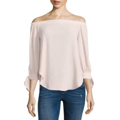 T.D.C 3.4 Sleeve Off Shoulder Bow Sleeve Top