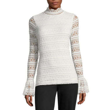 Worthington Long Sleeve Mock Neck T-Shirt-Womens