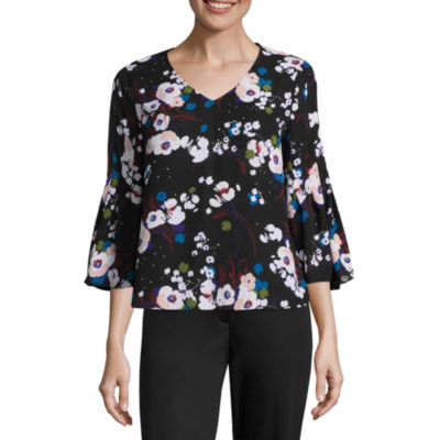 Worthington Bell Sleeve Floral Blouse