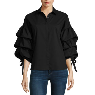 a.n.a Tiered Button Front Shirt