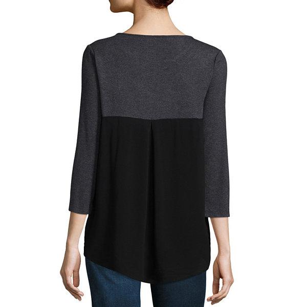 Liz claiborne 3 4 sleeve round neck t shirt womens jcpenney for Liz claiborne v neck t shirts