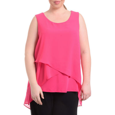 NY Collection High Low Layered Sleeveless Top - Plus