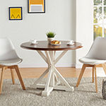 Southern Enterprises Pocksen Table Round Wood-Top Dining Table