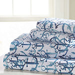 Harper Lane Tropical Escape Anchors Microfiber Easy Care Sheet Set