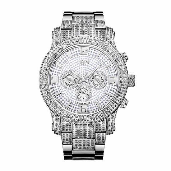 JBW Lynx 3/4 C.T. T.W. Diamond Mens Silver Tone Stainless Steel Bracelet Watch-J6336e