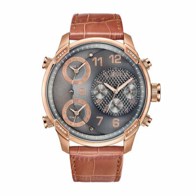 JBW Men's G4 0.16 ctw Diamond 18K Rose Gold-Plated Stainless Steel Watch J6248LS