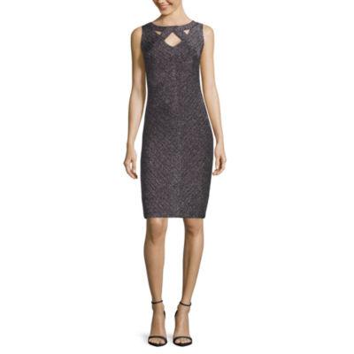 J. Taylor Sleeveless Metallic Cut-Out Detail Sheath Dress