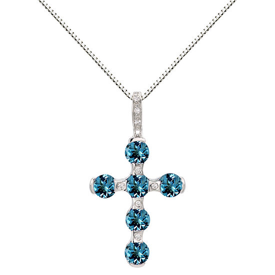 Sterling Silver Blue Topaz & Lab-Created White Sapphire Cross Pendant Necklace