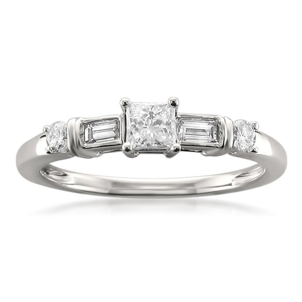 Womens 1/2 CT. T.W. Princess White Diamond 14K Gold Engagement Ring