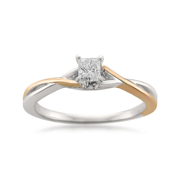 Promise My Love Womens 1/4 CT. T.W. Princess White Diamond 14K Gold Promise Ring