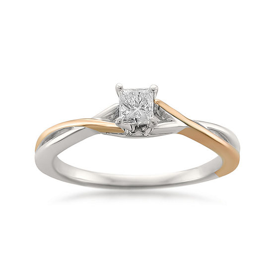 Promise My Love Womens 1/4 CT. T.W. Genuine White Diamond 14K Gold Solitaire Promise Ring