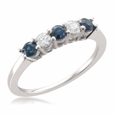 Womens 1/5 CT. T.W. Blue Sapphire 14K Gold Wedding Band