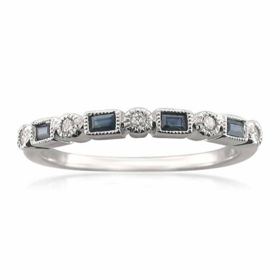 Modern Bride Gemstone Womens 2.5 Mm 1/10 CT. T.W. Blue Sapphire 14K Gold Wedding Band