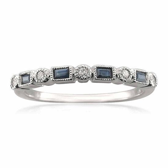Modern Bride Gemstone Womens 2.5 MM 1/10 CT. T.W. Genuine Blue Sapphire 14K Gold Wedding Band