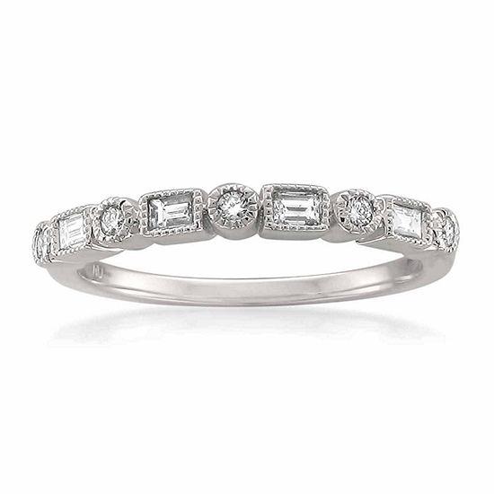 Womens 2.5 MM 1/6 CT. T.W. Genuine White Diamond 14K Gold Wedding Band