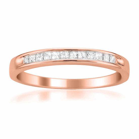 Womens 2 Mm 1 4 Ct Tw Genuine White Diamond 14k Gold Wedding Band