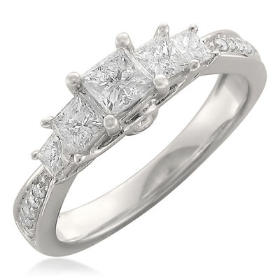 Womens 1 CT. T.W. Princess White Diamond 14K Gold Engagement Ring