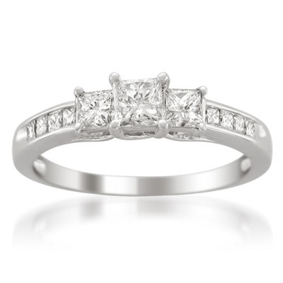 Womens 1 CT. T.W. Princess White Diamond Platinum 3-Stone Ring