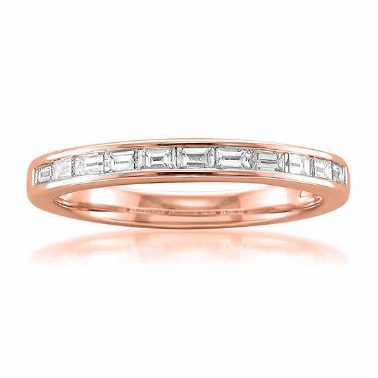 Womens 2 Mm 1/2 CT. T.W. Genuine White Diamond 14K Gold Wedding Band