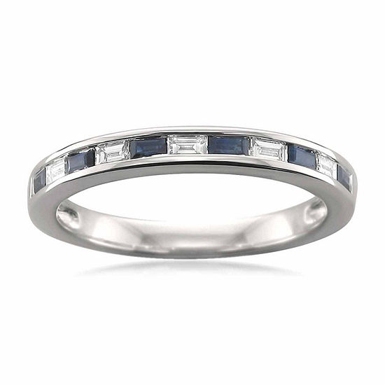 Modern Bride Gemstone Womens 2 Mm 1/4 CT. T.W. Genuine Blue Sapphire 14K Gold Wedding Band