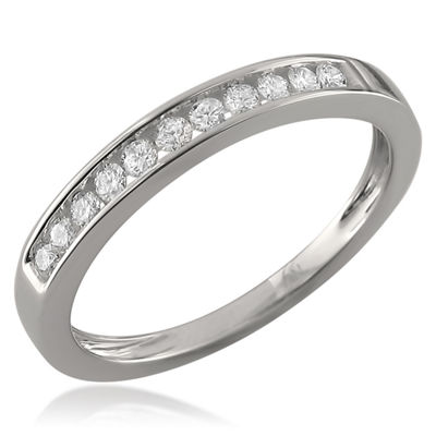 Womens 2 Mm 1/4 CT. T.W. White Diamond 18K Gold Wedding Band