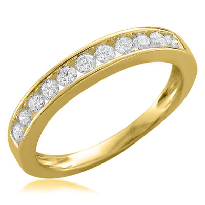 Womens 2.5mm 1/2 CT. T.W. White Diamond 18K Gold Wedding Band