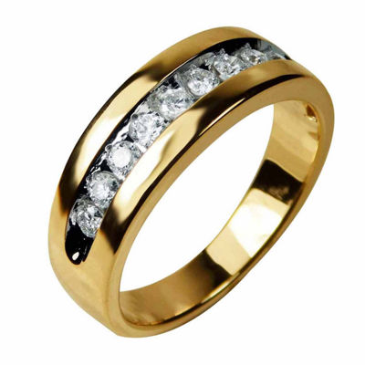 Mens 1/2 CT. T.W. Genuine Diamond 14K Gold Band