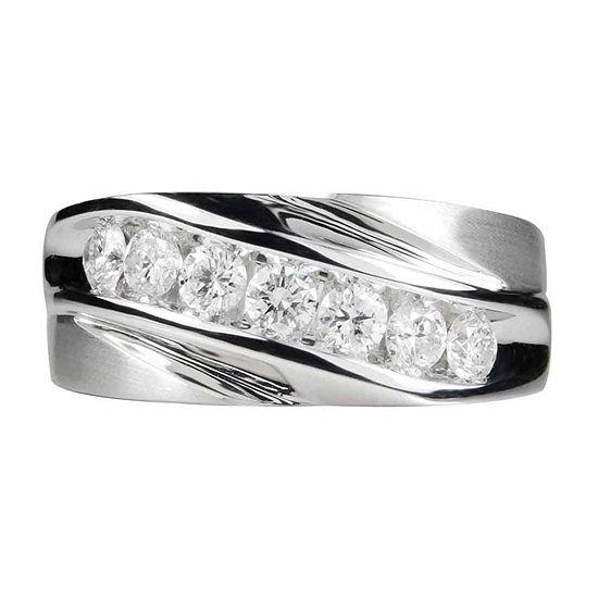 Mens 1 Ct Tw Genuine White Diamond 14k Gold Band