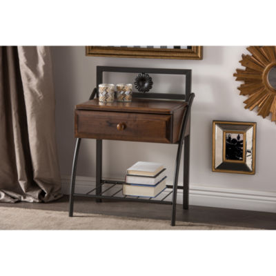 Baxton Studio Jevenci Vintage Metal and Wood Nightstand