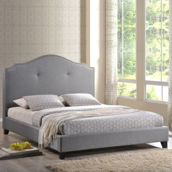 Baxton Studio Marsha Linen Upholstered Bed with Scalloped Headboard