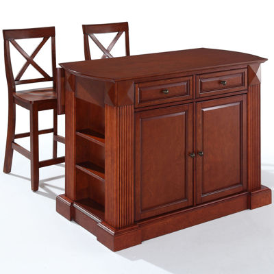 Amberly Drop Leaf Kitchen Island with 2 X-Back Stools