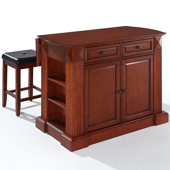 Amberly Drop Leaf Kitchen Island With Upholstered Stools JCPenney - Kitchen island with folding leaf
