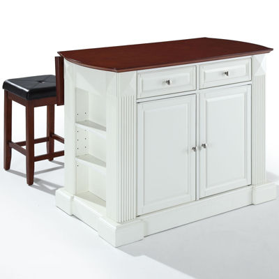 Amberly Drop Leaf Kitchen Island with 2 Upholstered Stools