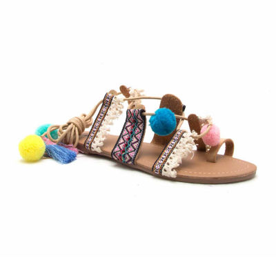 Qupid Pom Pom Lace Up Sandal