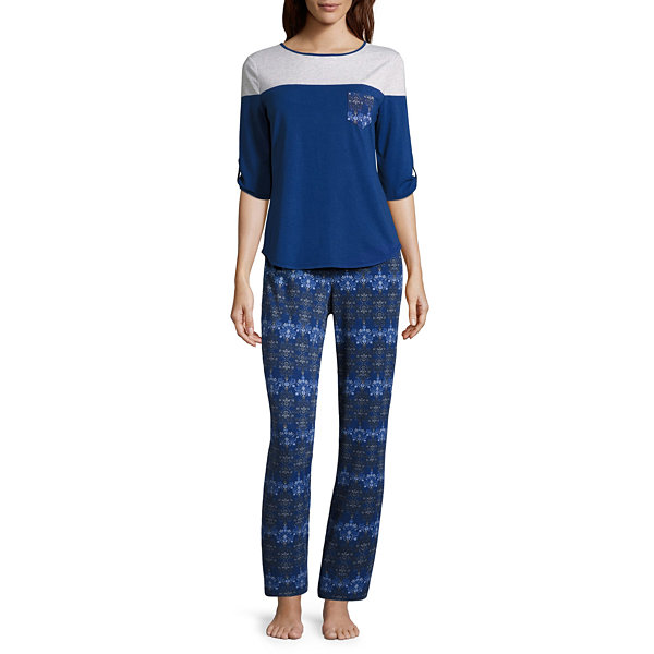Liz Claiborne Colorblock Pant Pajama Set-Tall