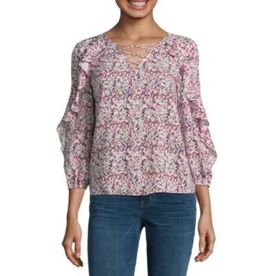 a.n.a 3/4 Sleeve Woven Paisley Blouse-Talls
