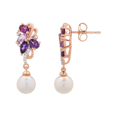Diamond Accent Genuine Purple Amethyst Cultured Freshwater Pearl 14K Gold Over Silver 25.6mm Stud Earrings
