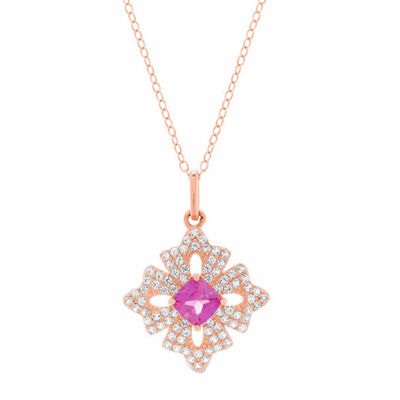 Womens Lab Created Red Ruby 18K Gold Over Silver Flower Pendant Necklace